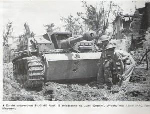 zniszczony Stug na Liniii Gotów 1944